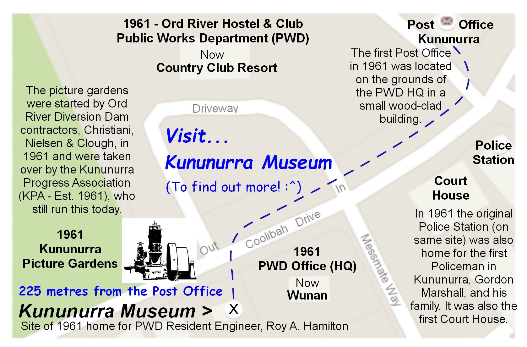 Map showing location and historic sites in 225 yards between Post office and Kununurra Museum