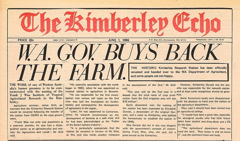 1986-06-01 - The Kimberley Echo - Page 1 - Headline - 'WA Gov Buys Back The Farm' June 1st 1986 re KRS - KHS-2016-78-H-BD_1
