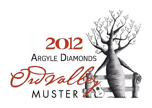 2012 Argyle Diamonds Ord Valley Muster - Logo (Caricature drawing of a Boab tree as person with a guitar leaning against a fence).