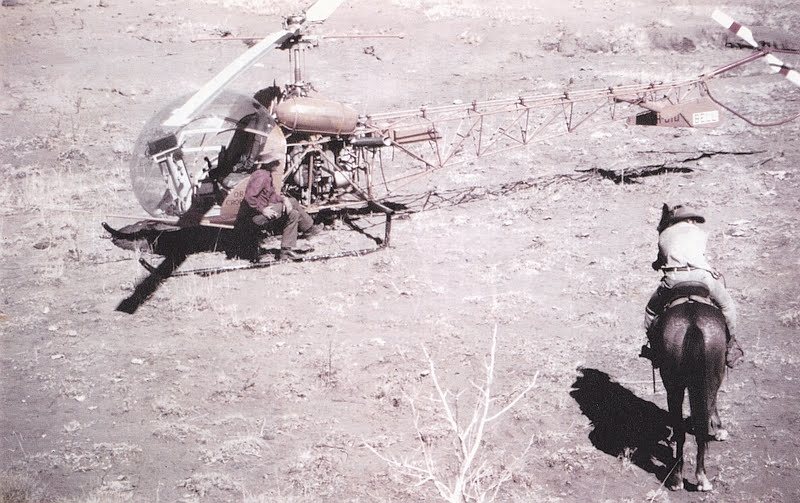 The old and the new methods of mustering. Stuart Skoglund with VH-UTD and the head stockman on Kimberley Downs, 1973. Photo taken by Tom Meeds.