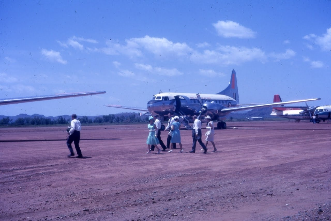 March 17th 1963 - The Royal Tour Party departing Kununurra - RAAF Convair A96-313 (A complete back-up) aircraft for VIP carriage can be seen behind the Royal party.