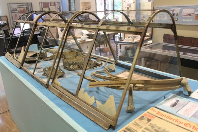 RAAF Wirraway A20-62 Cockpit Canopy and remnant parts as part of a permanent display at the Kununurra Museum.
