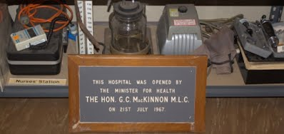1967-07-21 - The (2nd) Kununurra Hospital - July 21st 1967 Official Opening Plaque with other medical display objects at the Kununurra Museum