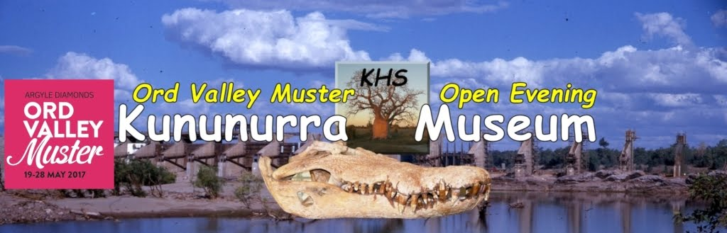 Ord Valley Muster 19-28 May 2017 Logo on a Kununurra Museum Banner with the Ord River Diversion Dam during construction and a crocodile skull.