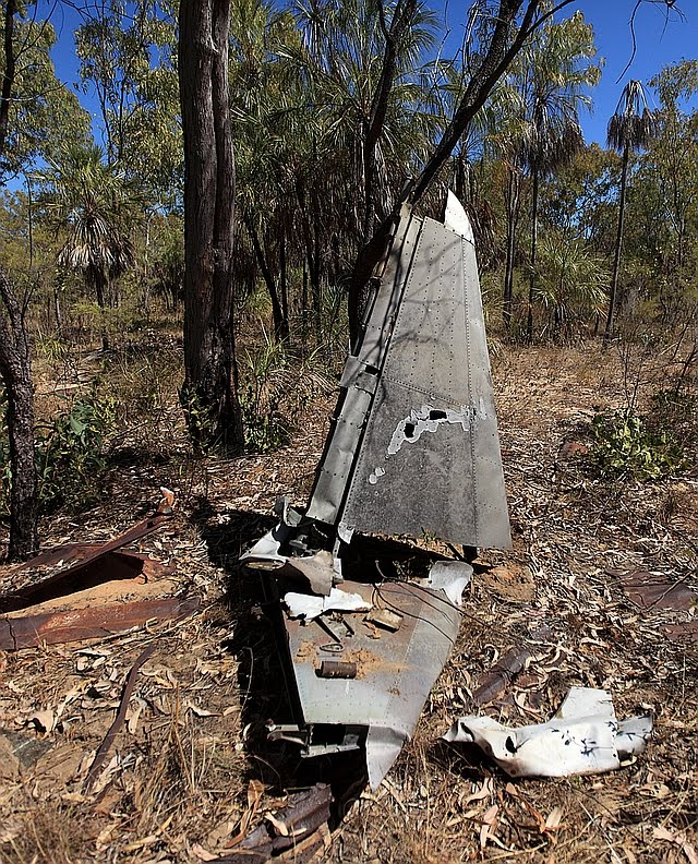 Remains of tail-plane from WWII RAAF 12 Squadron CAC Wirraway A20-62 as found in the bush at Ningbing station, East Kimberley (about 20km from the WA-NT border) in 2016