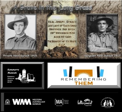 Photos of Pvt Neal Durack 1915 and Sergeant Neal Durack 1917 with a photo of his headsone between the two. Logo for the Event