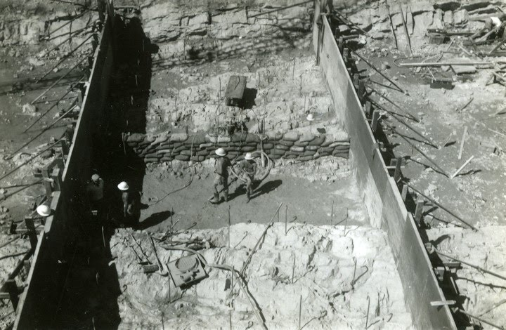 1961-08-ca Monolith 35. Upstream Phyllite seam and rock surface with anchor bars before concrete - KHS-1998-8-lf-P4-D