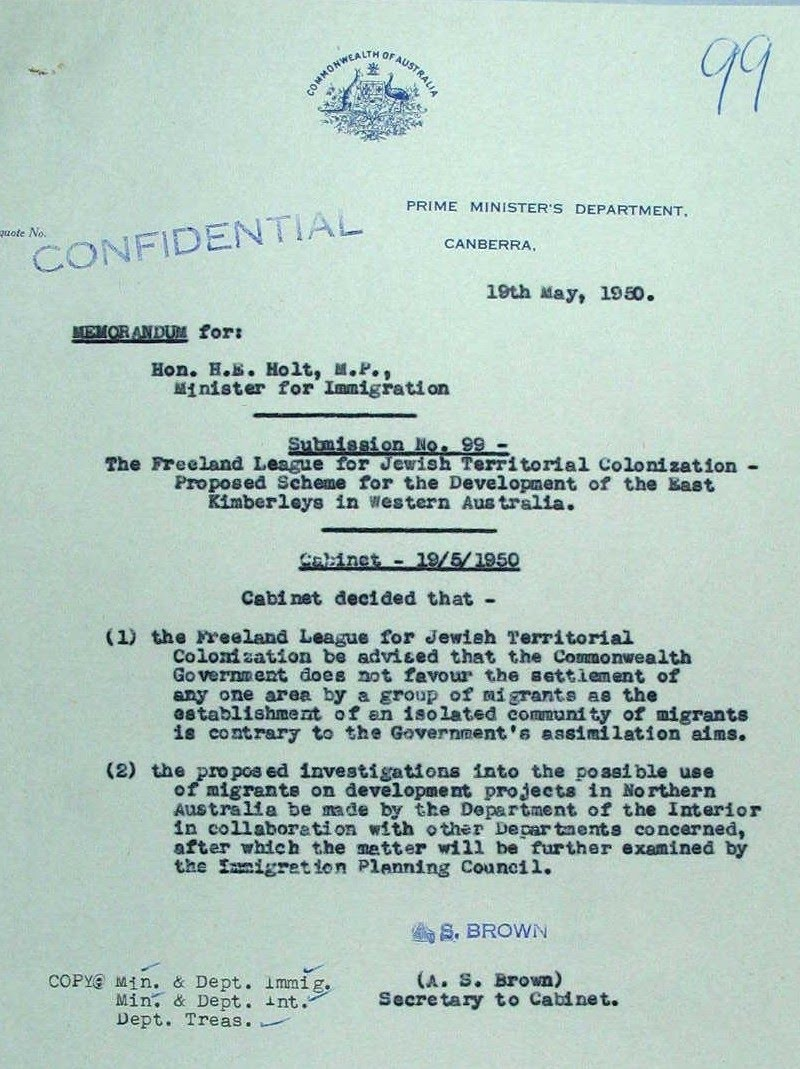 1950-05-19 - Letter from Harold Holt (Minister for Immigration) about the Cabinet Decision on the Freeland League's Jewish Homeland proposal - NAA - Page 1 of 4 - Cabinet Decision