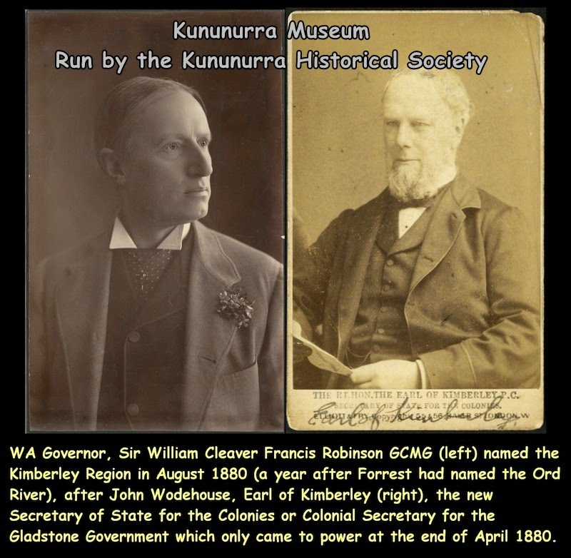 1880-08 - The Kimberley was named by WA Governor William Robinson after the 1st Earl of Kimberley