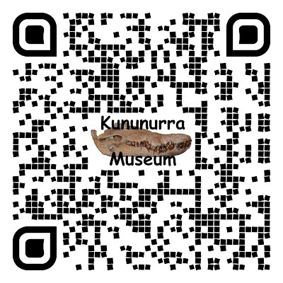 "QR Code 2 Cool water drop style with a photo of a croc skull in the centre of the QR Code and the words ""Kununurra Museum"" made by AB for KHS for - www.kununurra.org.au_research_1960-1963-ord-stage-1 new signage at the Ord River Diversion Dam"