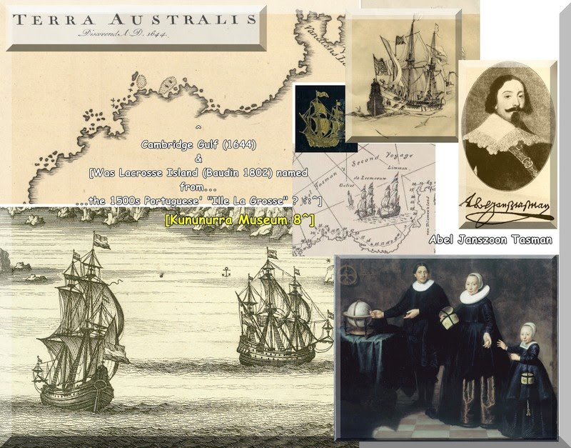 1644 - Map - Australia - Bowen-1744 ex Princeton.edu in a Kununurra Museum Montage with Ships Paintings of Tasman wife & child the chart shows Cambridge Gulf 1644 - KHS Google Earth Pro 'Image Overlay's of 1802 1644 & Charts - Overlays by AB for KHS & Kununurra Museum