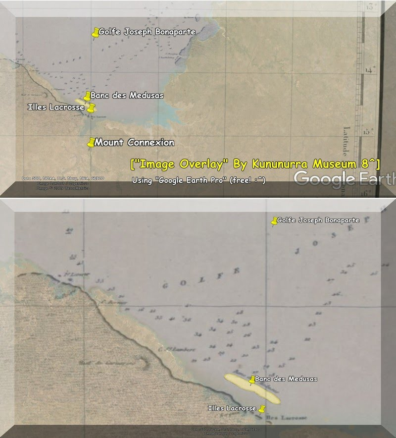 "1802 - Baudin names Joseph Bonaparte Gulf & Lacrosse Island(s) - Shows old 1802 expedition chart as an ""Image Overlay"" in Google Earth Pro (free) - Image Overlays by AB for Kununurra Museum"
