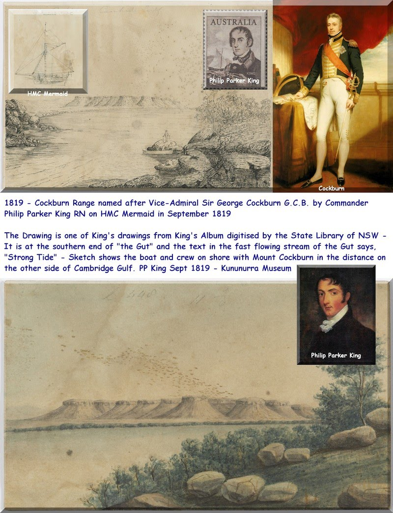 1819 - Cockburn Range named after Vice-Admiral Sir George Cockburn G.C.B. by Philip Parker King - AB's Montage for KHS